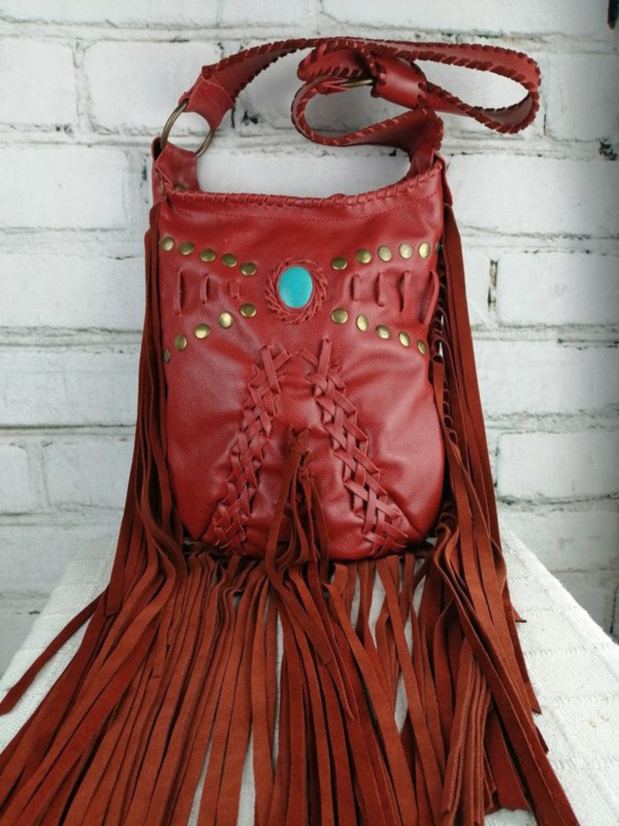 Bolso Cuero Rojo/ Diseño Mujer Hippie/ Estilo Bohemio Festival