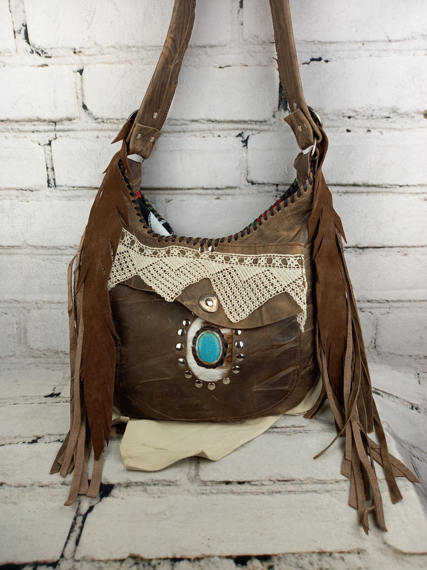 Leather Handbag Hippie Brown/ Purse Boho Style/ Blue Mineral Woman Accesories