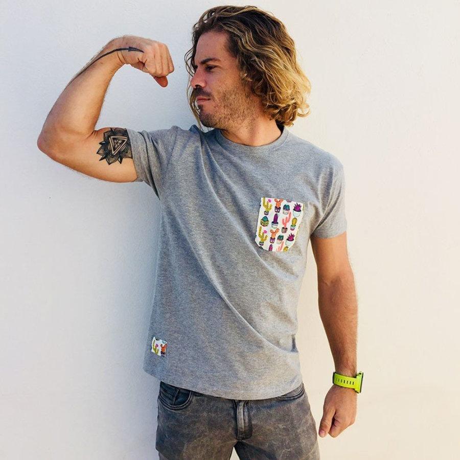 Camiseta bolsillo cactus colores