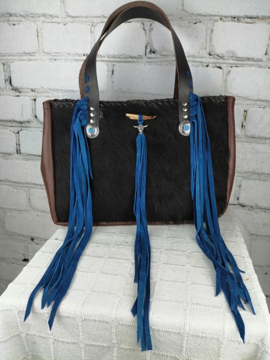 Bolso Piel Pelo Estilo Cowboy/ Bolso Mujer Diseño Unico
