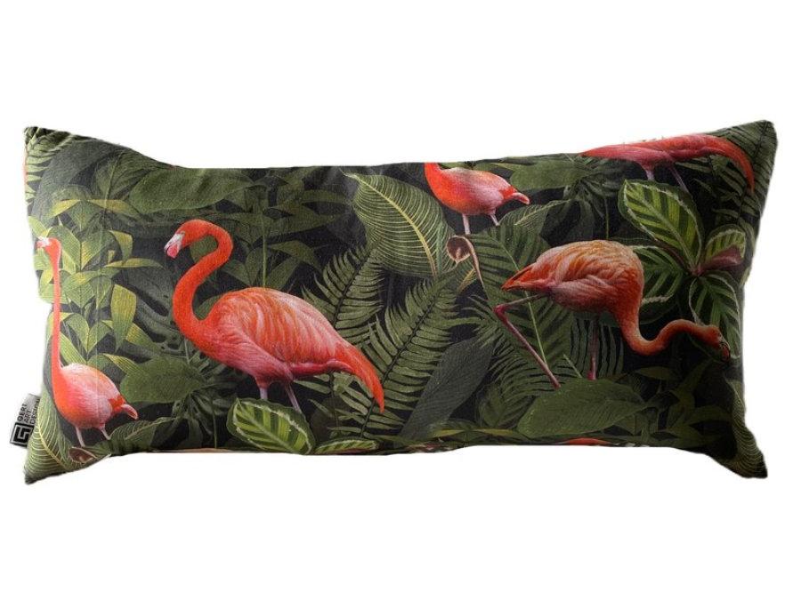 Ibiza Flamingos Dark cushion