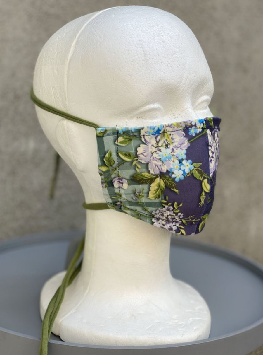 "Women face mask ""Purple Green Flowers 033"""