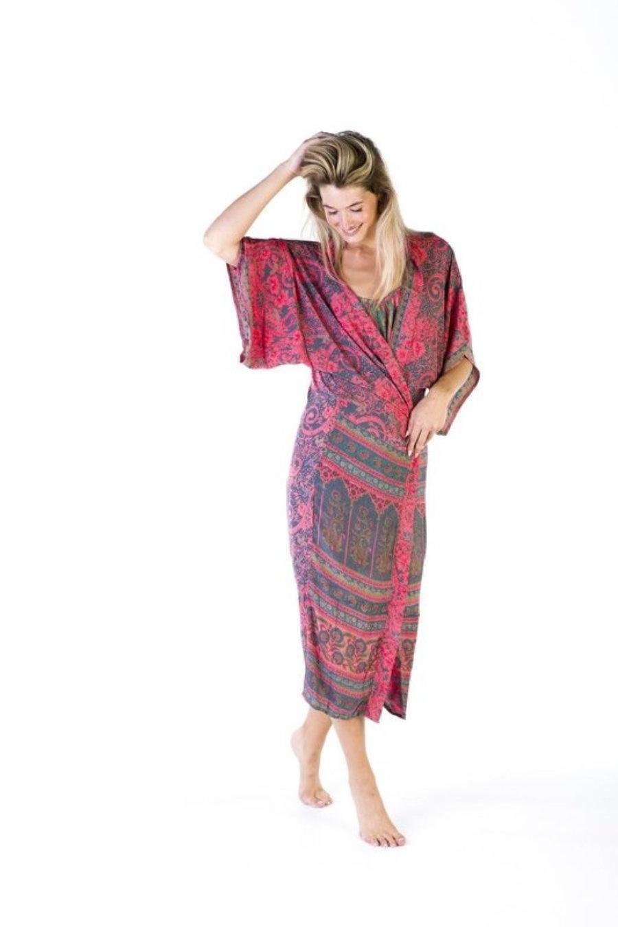 Kimono largo seda