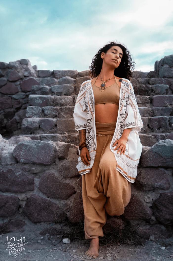 White Ayuma Kimono • Kimono Jacket With Block Print • Unique Design • Raw Materials