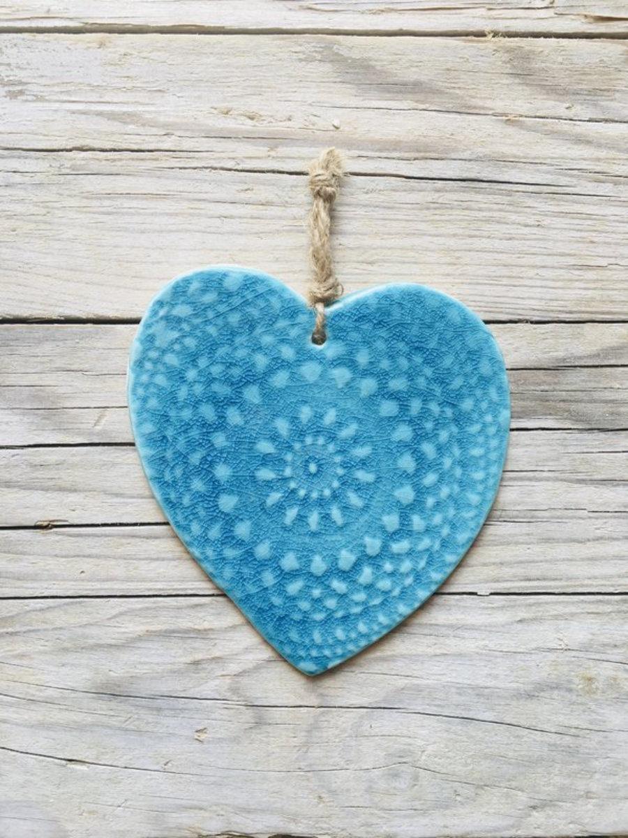 Corazón turquesa decoración de pared, cerámica artesanal ibiza