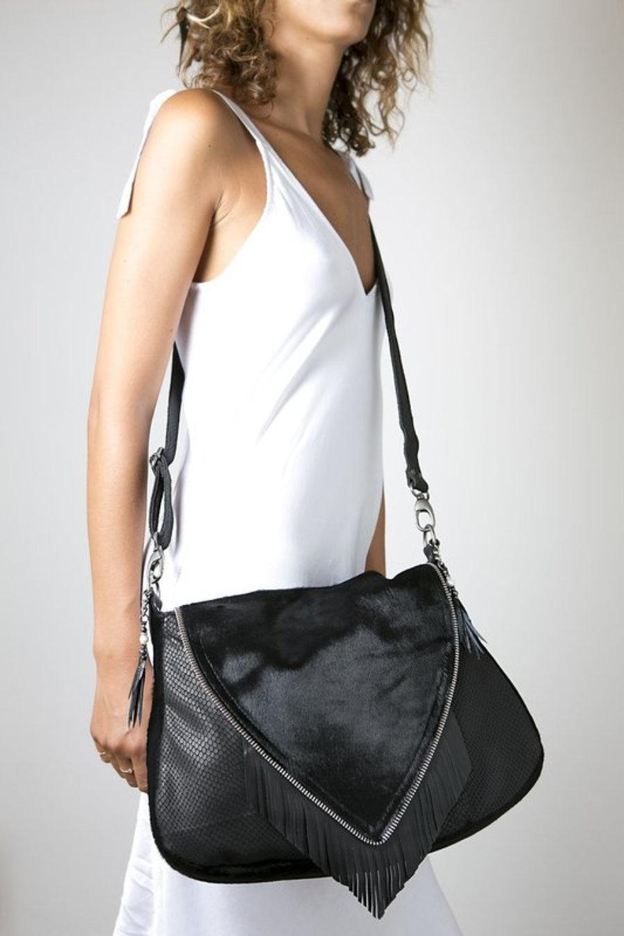 Big Nicole Bag I - one of our signature black leather handmade handbags