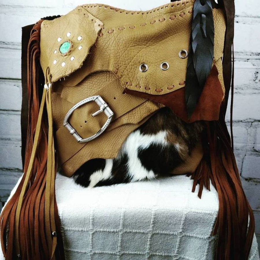Camel Leather Bag with Bohemian Hippie Design
