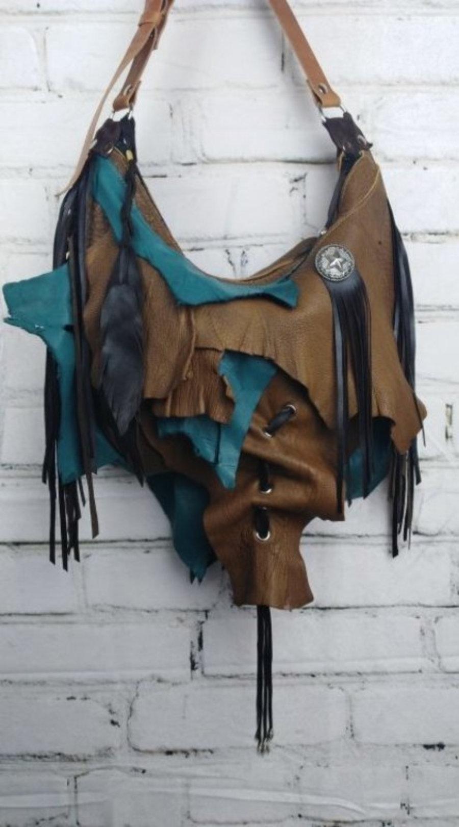 Bolso Asimetrico Hippie De Piel Marrón y Azul