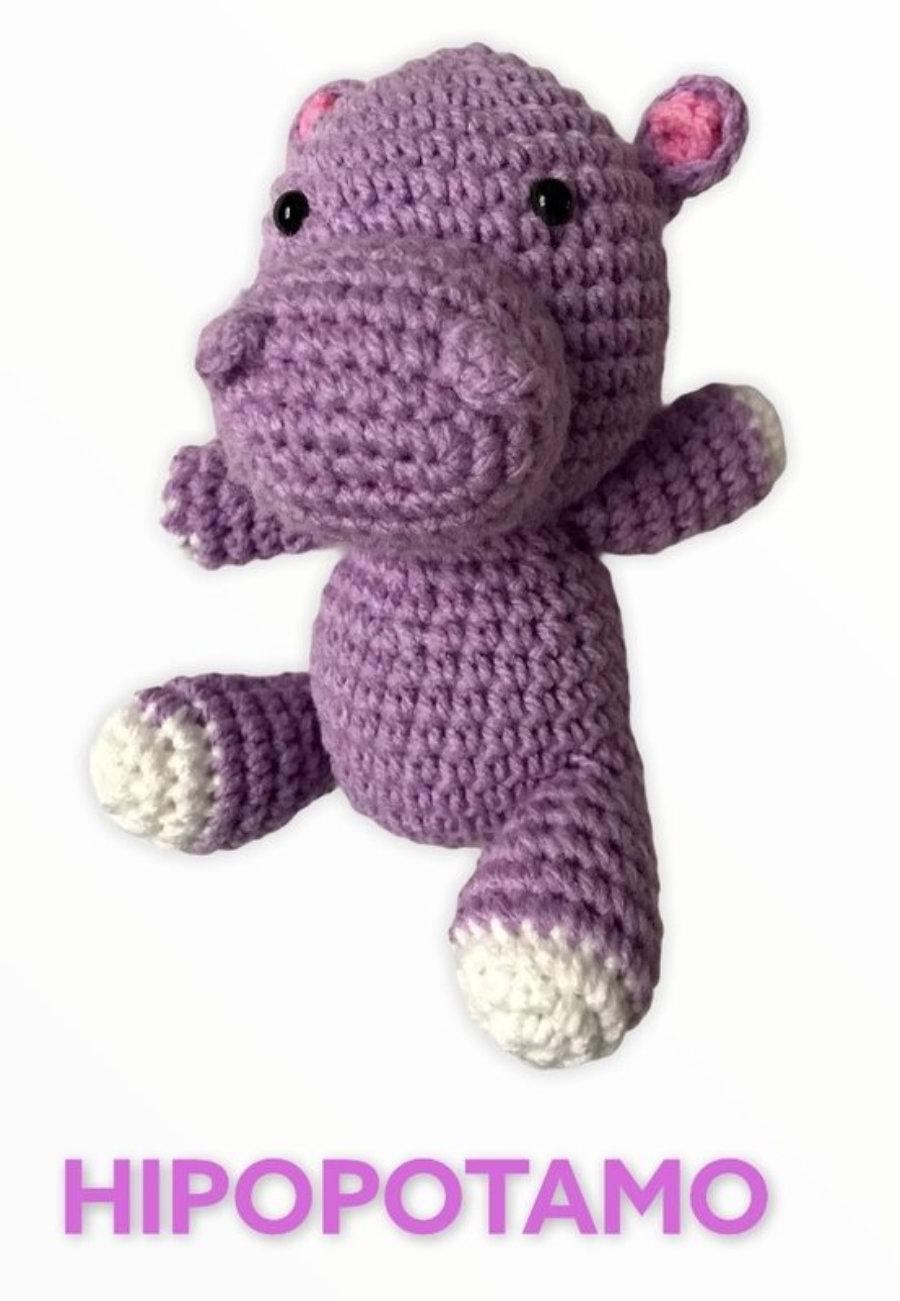 """AMIGURUMIS Muñecos de croché """"Hipopótamo"""""""