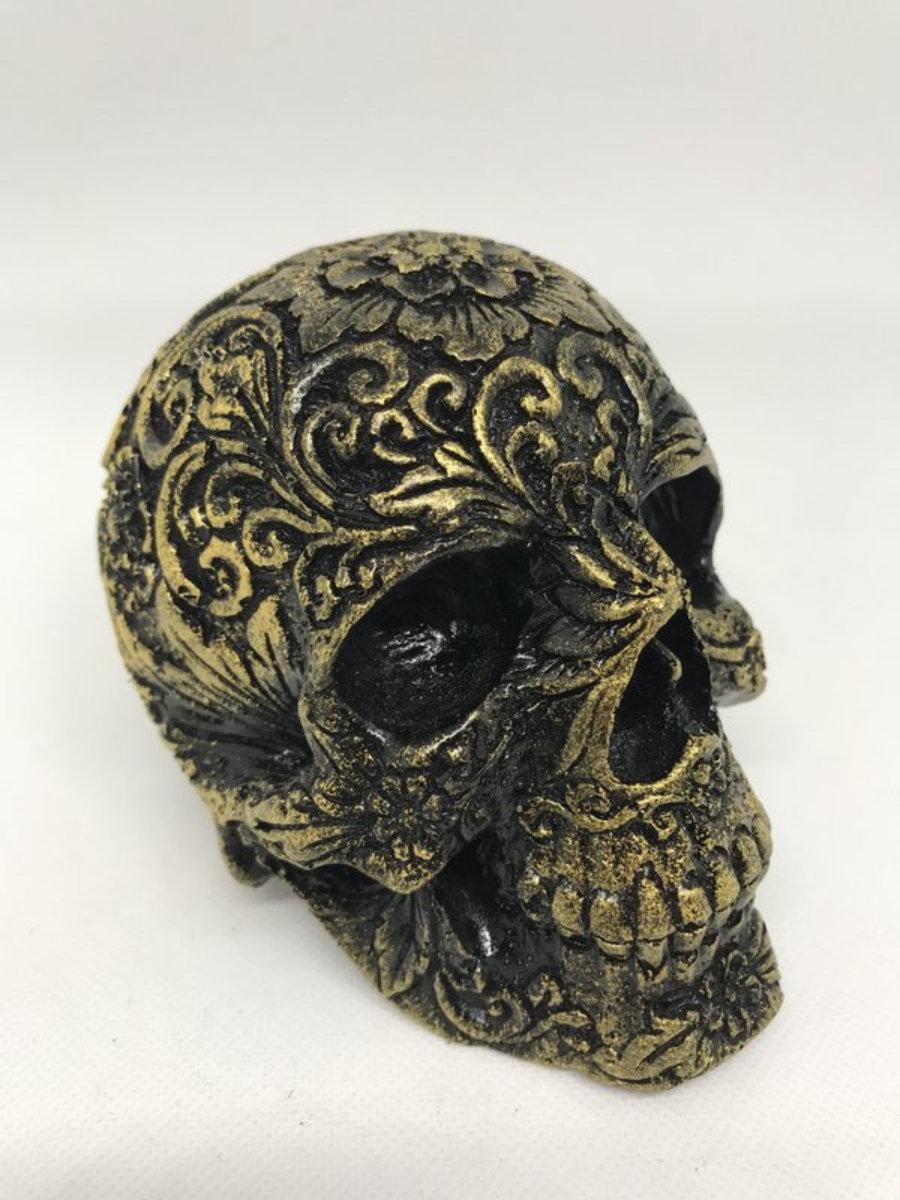 Calavera carving 2 negro/dorado