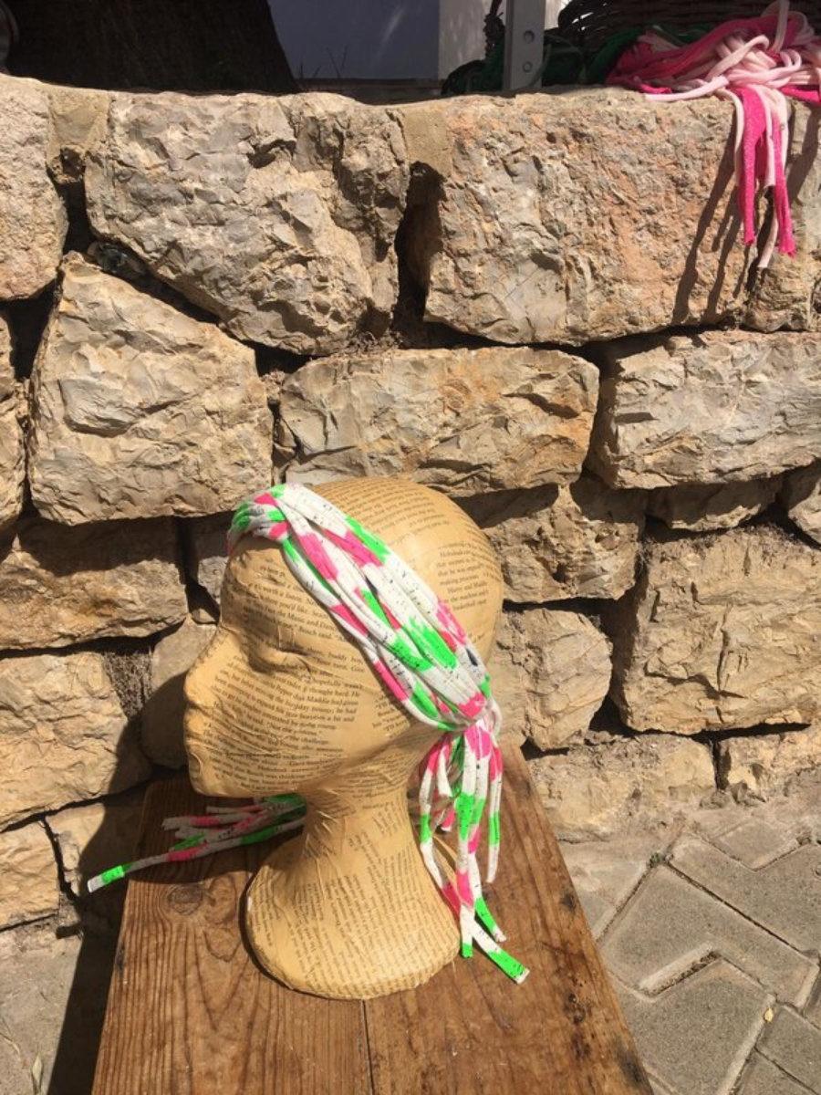 Turbante Rosa Blanco Y Verde Flúor