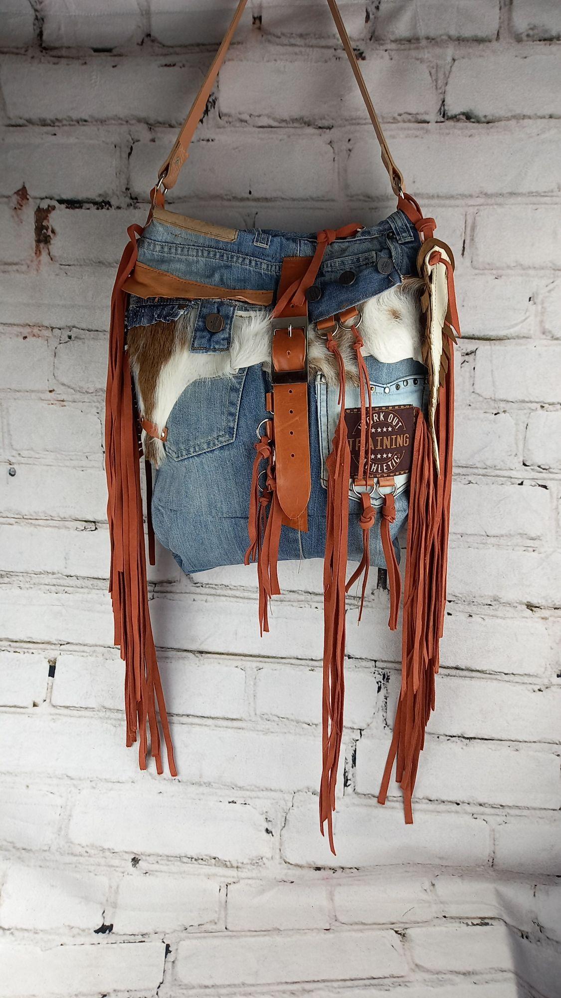 Leather Denim Hadbag/ Cow Purse/ Unique Style/ People Hippie