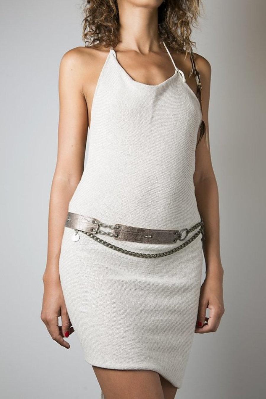Cinturón reversible de cuero marrón y gris