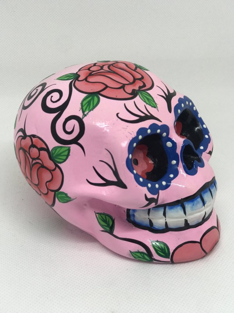 Calavera rosada y rosas