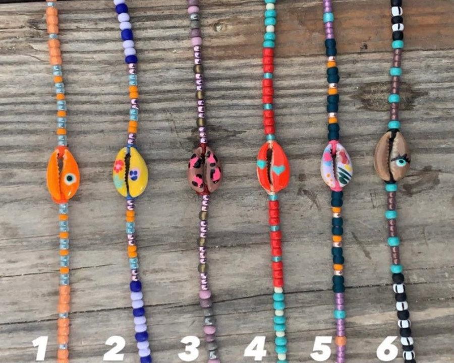 Handpainted cowrie bracelet II