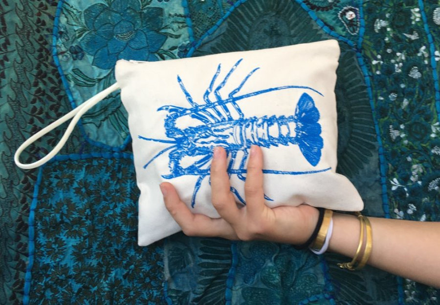 Lobster embroidery Clutch bag, A Mediterranean Lobster fish thread by Magic Mountain Ibiza