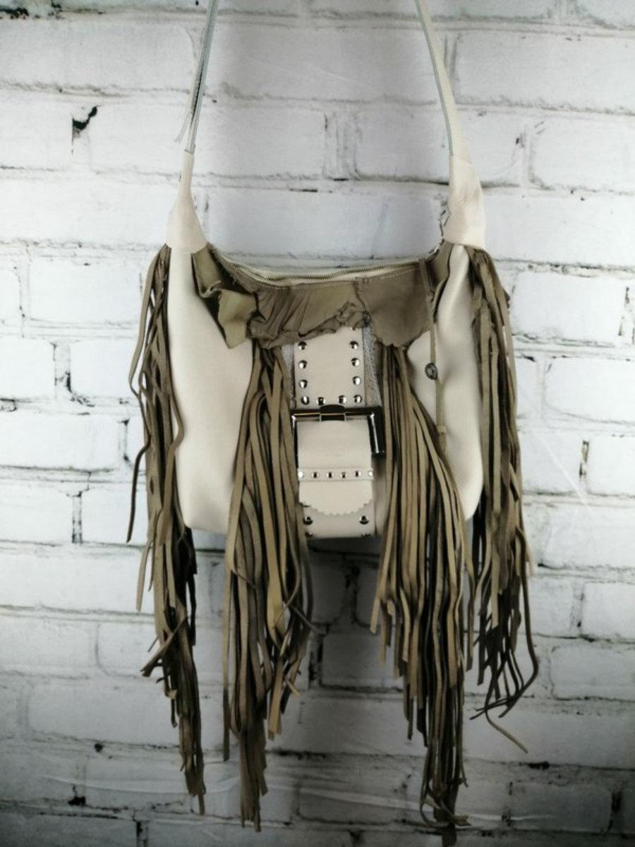 Bolso Blanco Cuero/ Diseño Flecos Mujer