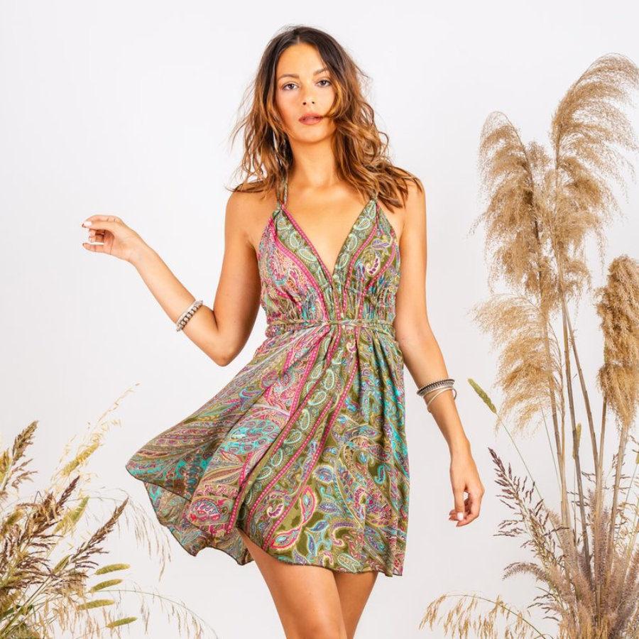 Gold  Ibiscus Short Dress