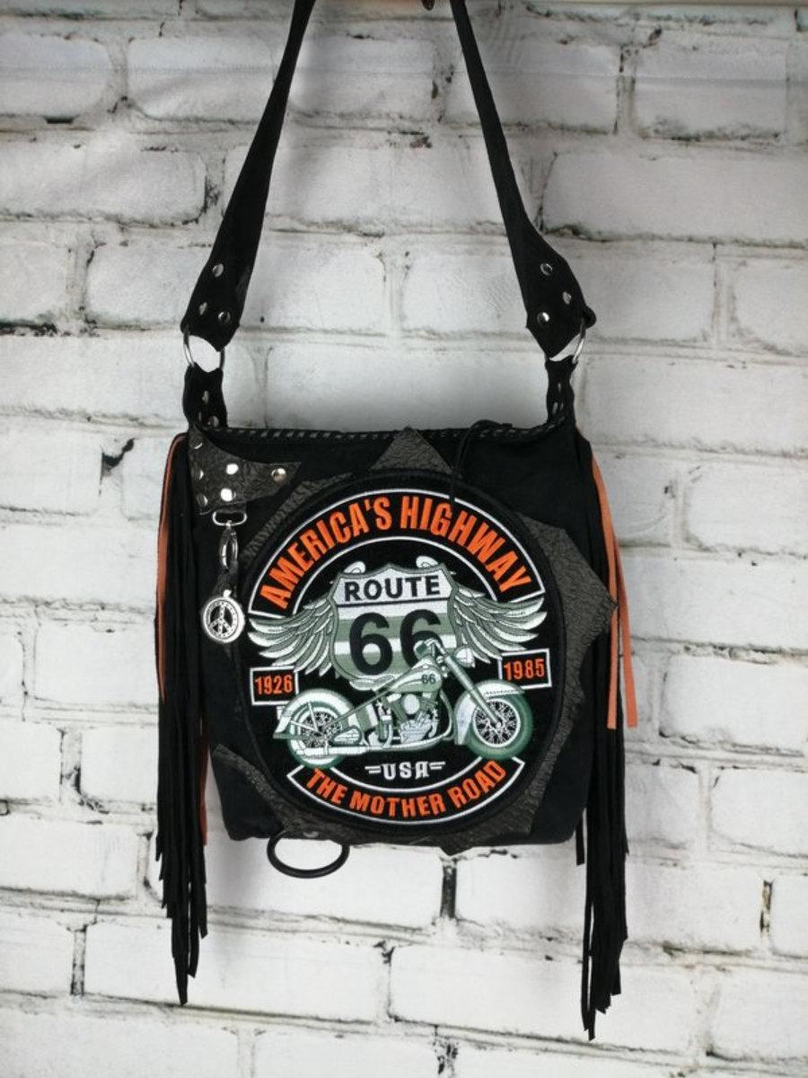 Bolso Piel Ante Negro Rockero Ruta 66