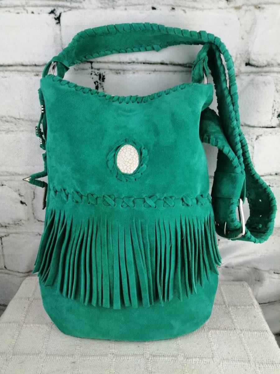 Bolso Turquesa Piel para Mujer/ Diseño Estilo Hippie