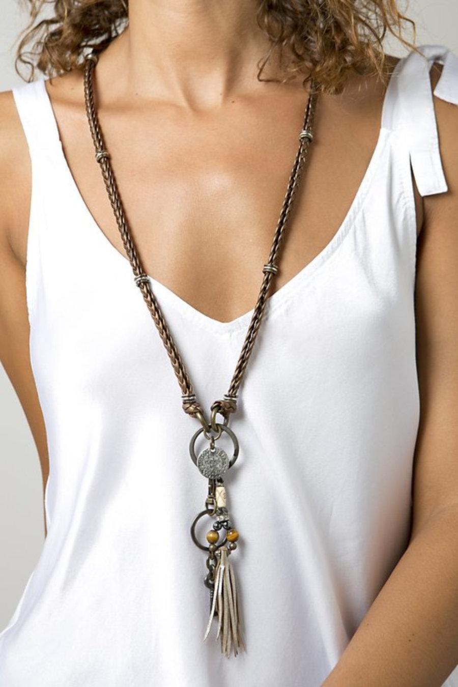 Collar de cuero cobre con llave y perla