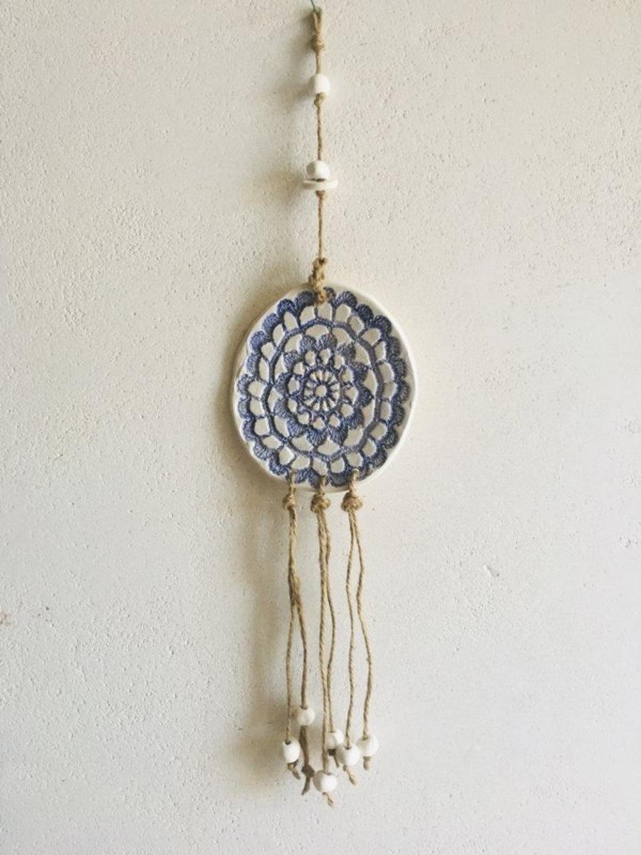 Decoración pared, mandala cerámica hecho a mano Ibiza