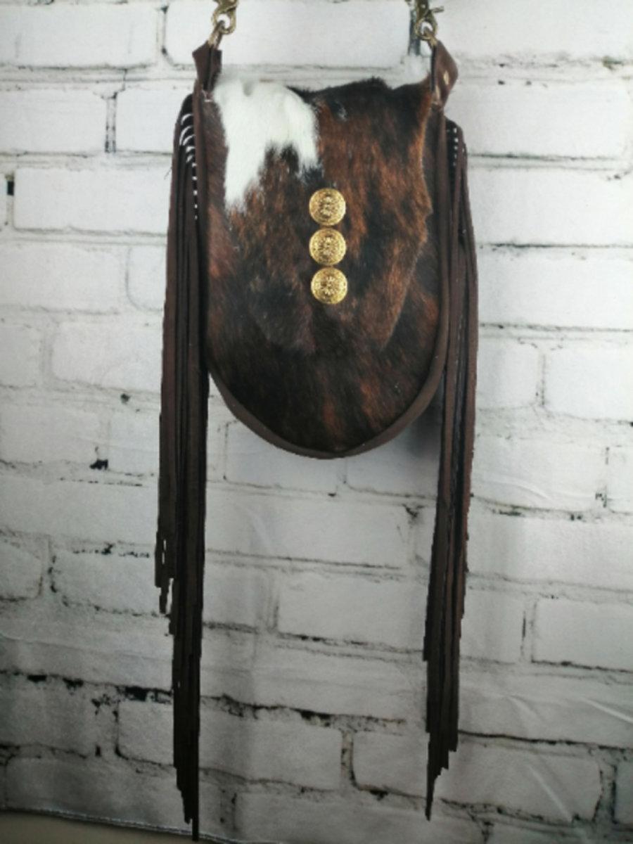 Bolso Cowgirls Cuero Vaca/ Diseño Hippie Mujer