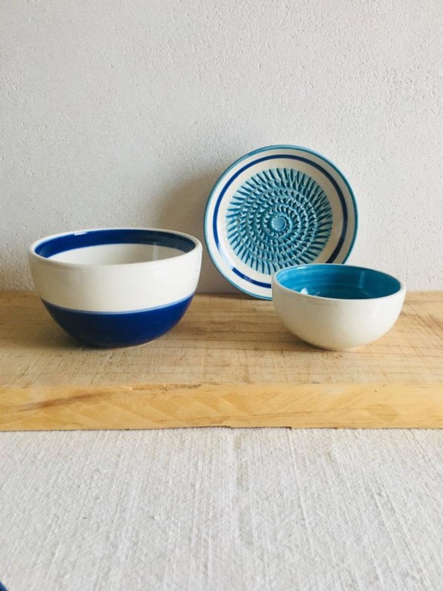 Rallador cerámica set 3 piezas hecho a mano Ibiza