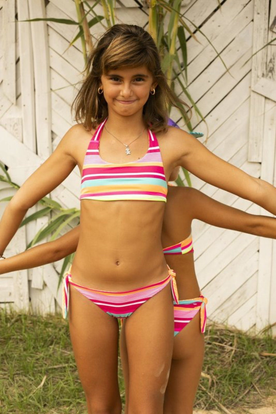 Stripy girl bikini