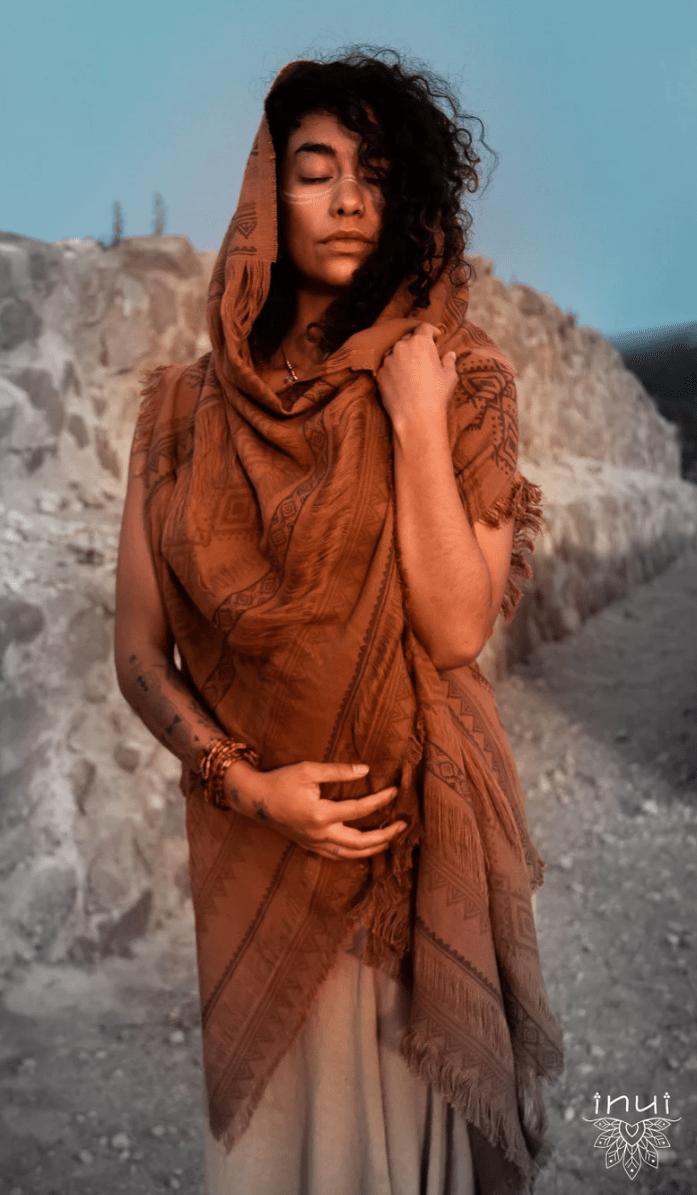 Brown Wari Vest • 2-Ways Wearing Sleeveless Cardigan W/Hood • Unique Design • Raw Materials