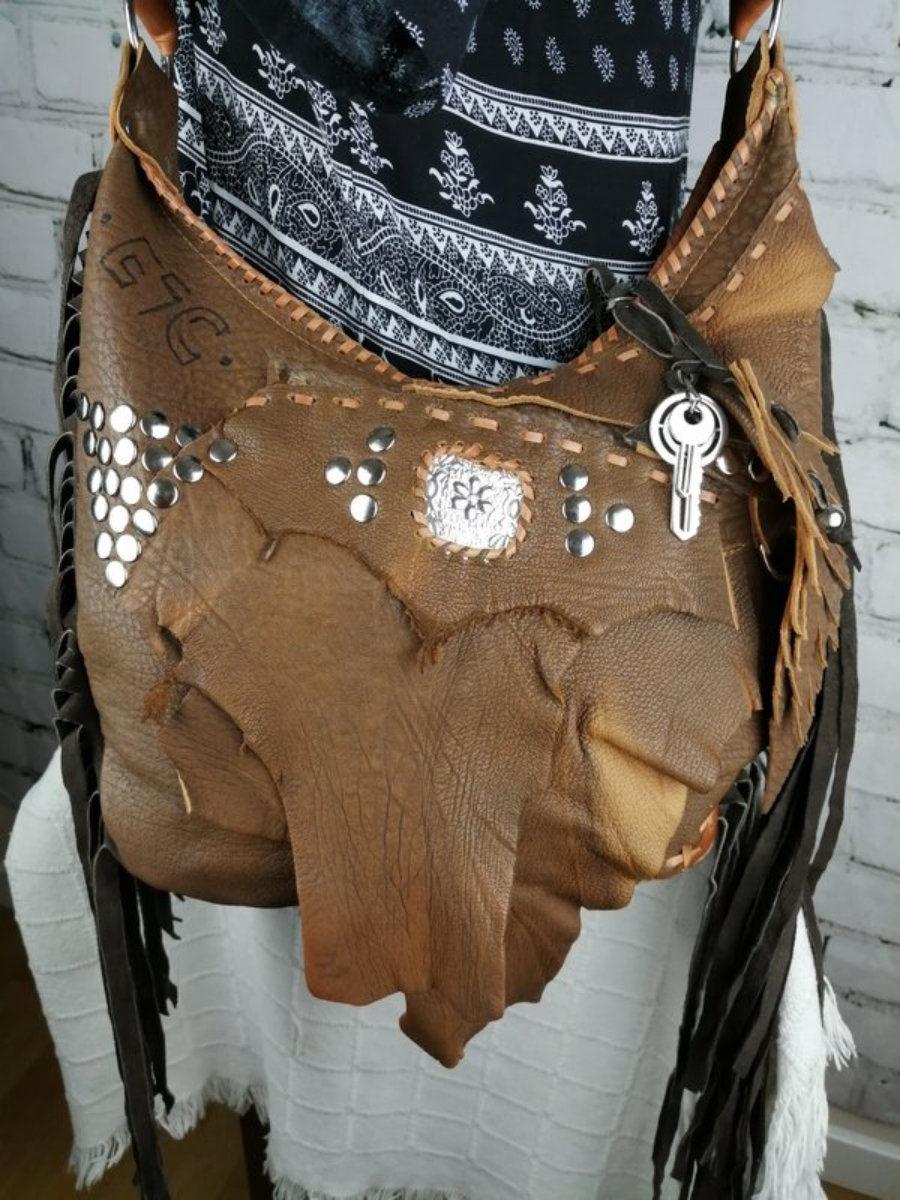 Bolso Marrón Cuero Mujer/ Bolso diseño Estilo Hippie/ Personalizado Bolso de Festival Bohemio