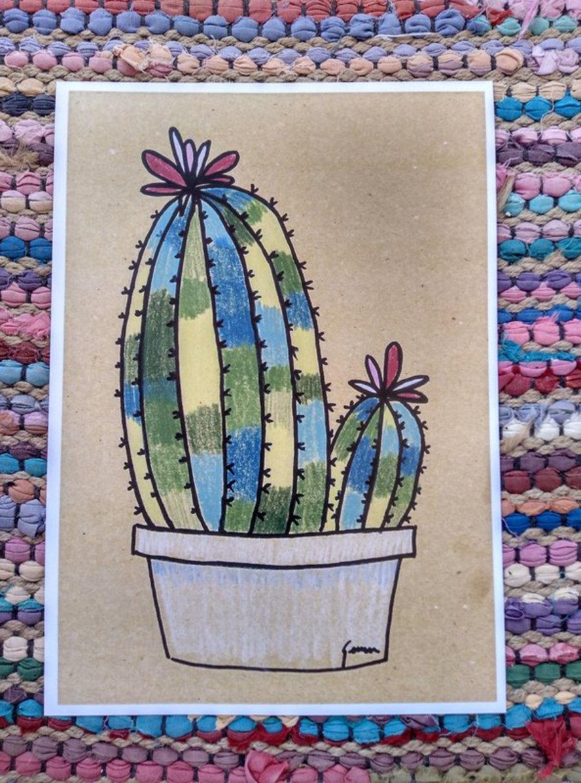 """Ilustración """"Cactus lapiz color 2"""""""