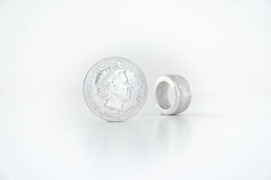 2 Pounds Poseidon and Horses 1 oz Fine Silver Coin Ring