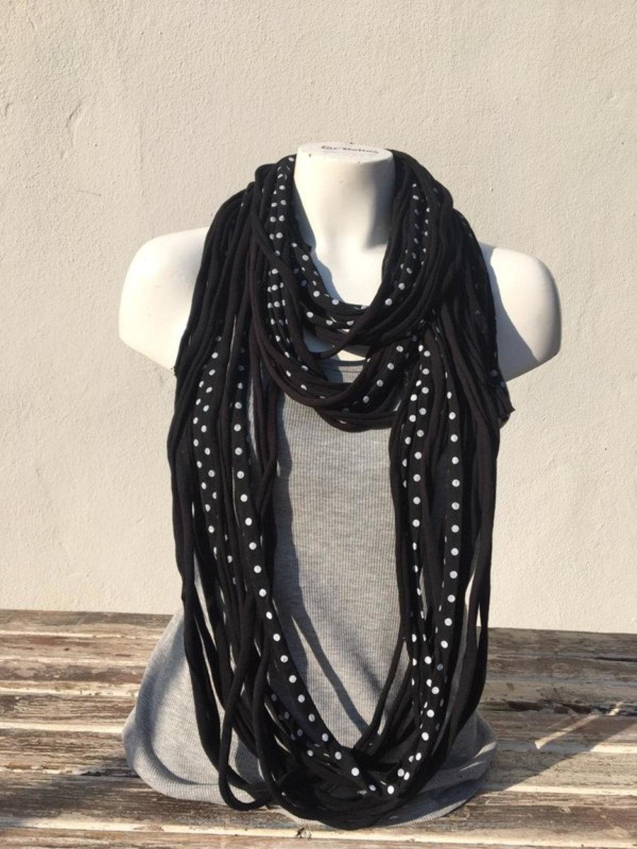 Foulard Negro,Negro Con Puntos Blancos Y Gris Oscuro