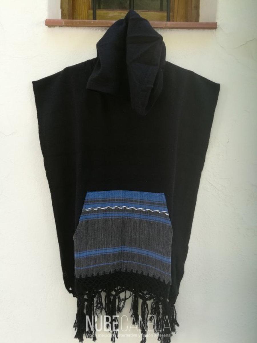 Poncho quetzacoatl negro y azul