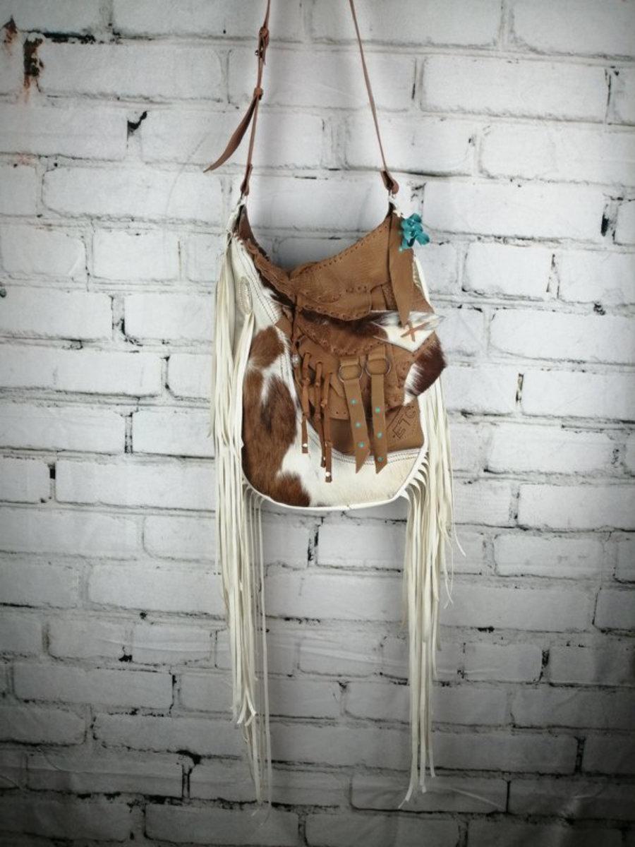 Bolso de Piel Western Color Blanco y Camel