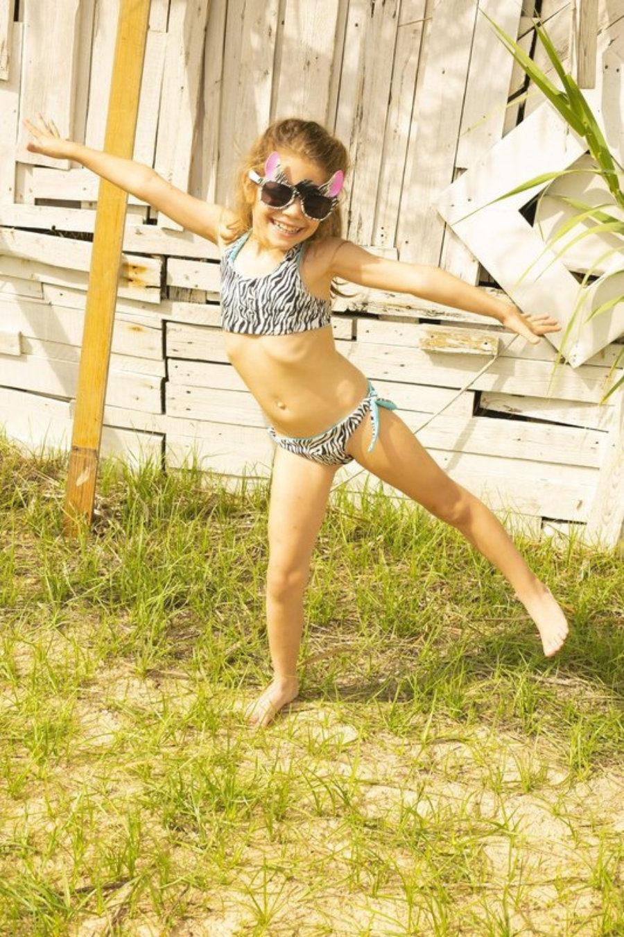 Stripy girl bikini zebra & turqouise