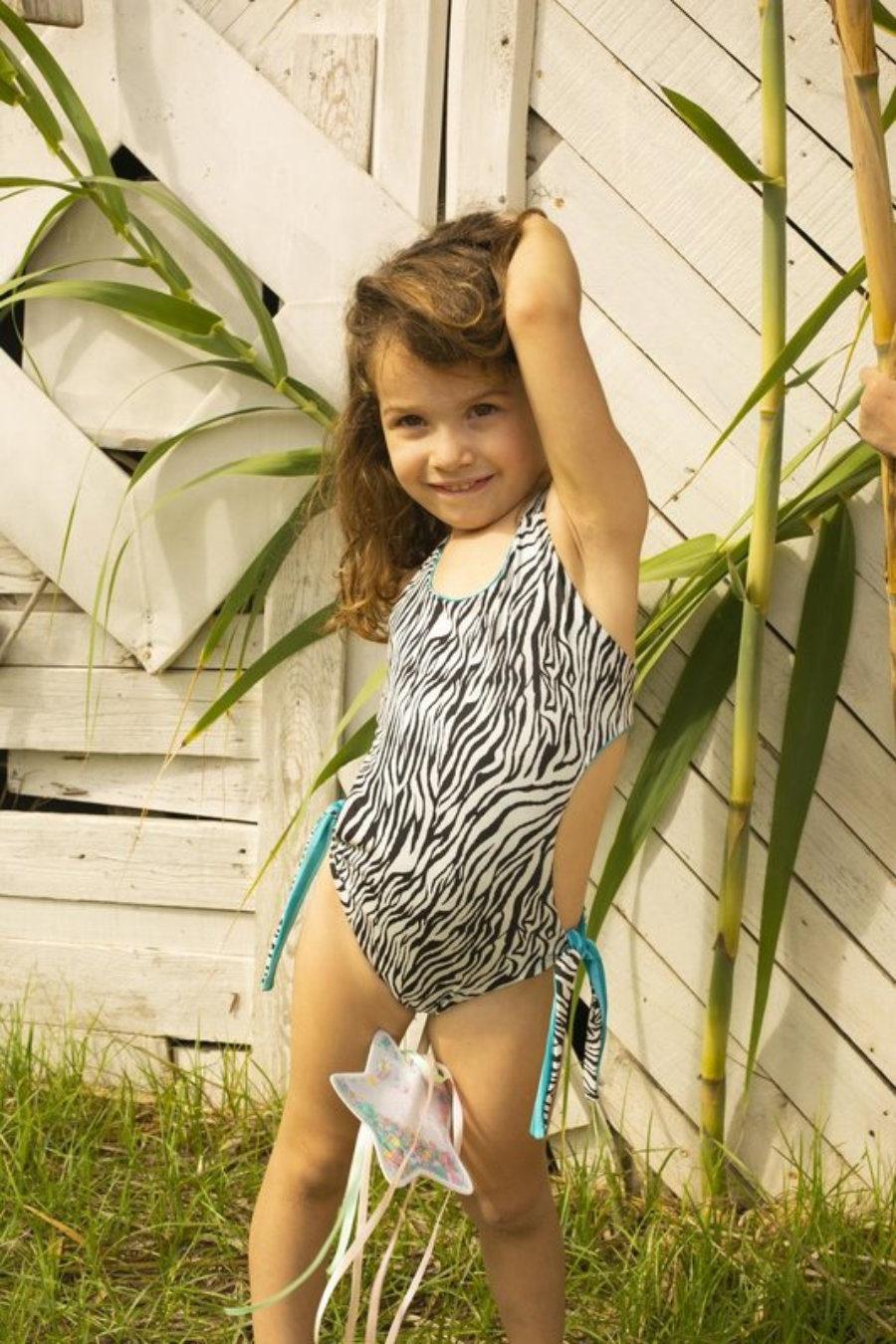 Stripy girl Trikini zebra & turqouise