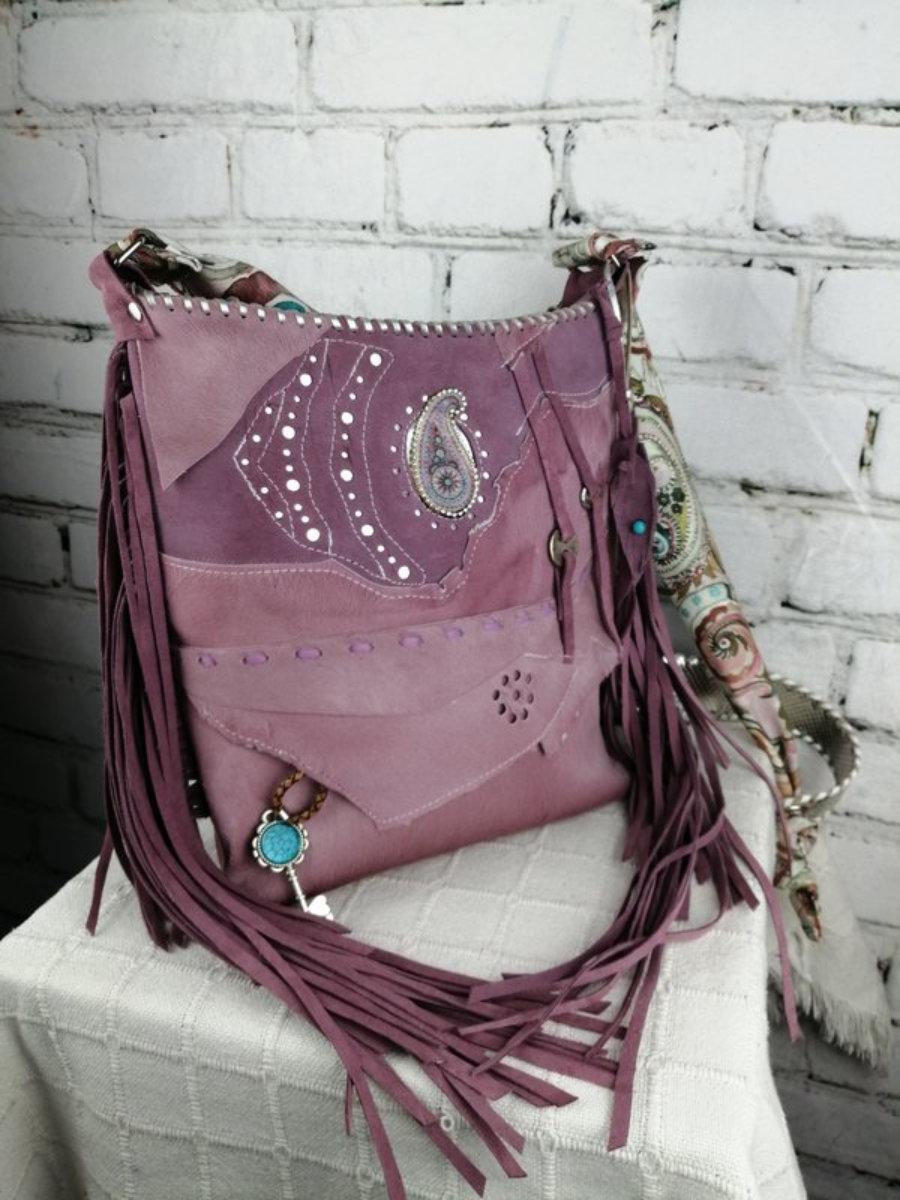 Bolso Piel Malva/ Diseño Hippie Hecho a mano Mujer