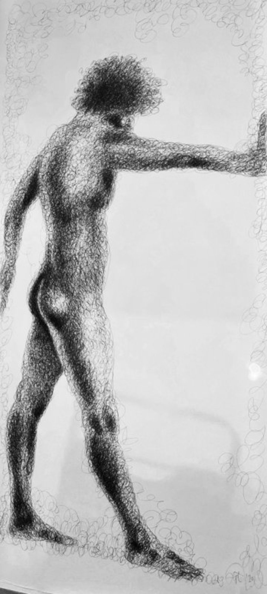 """Pierre Stop"" - male nude, ink on paper 88 x 185 cm"