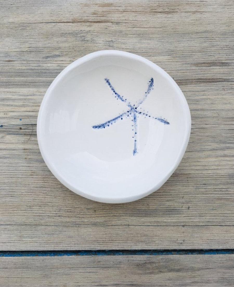 Cuenco aperitivo estrella de mar cobalto, cerámica artesanal