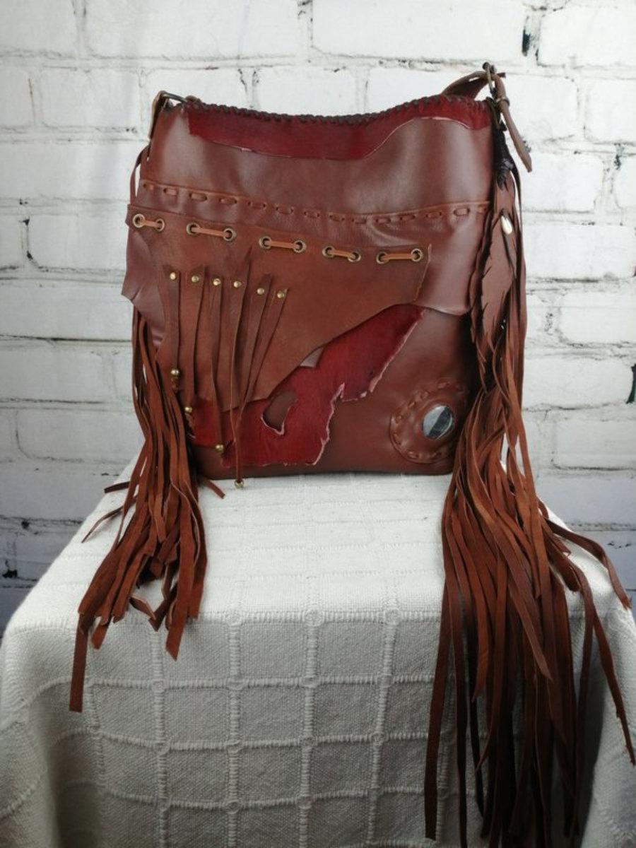 Bolso Piel Rojo Teja/  Diseño Bohemio/ Bolso Estilo Hippie Flecos