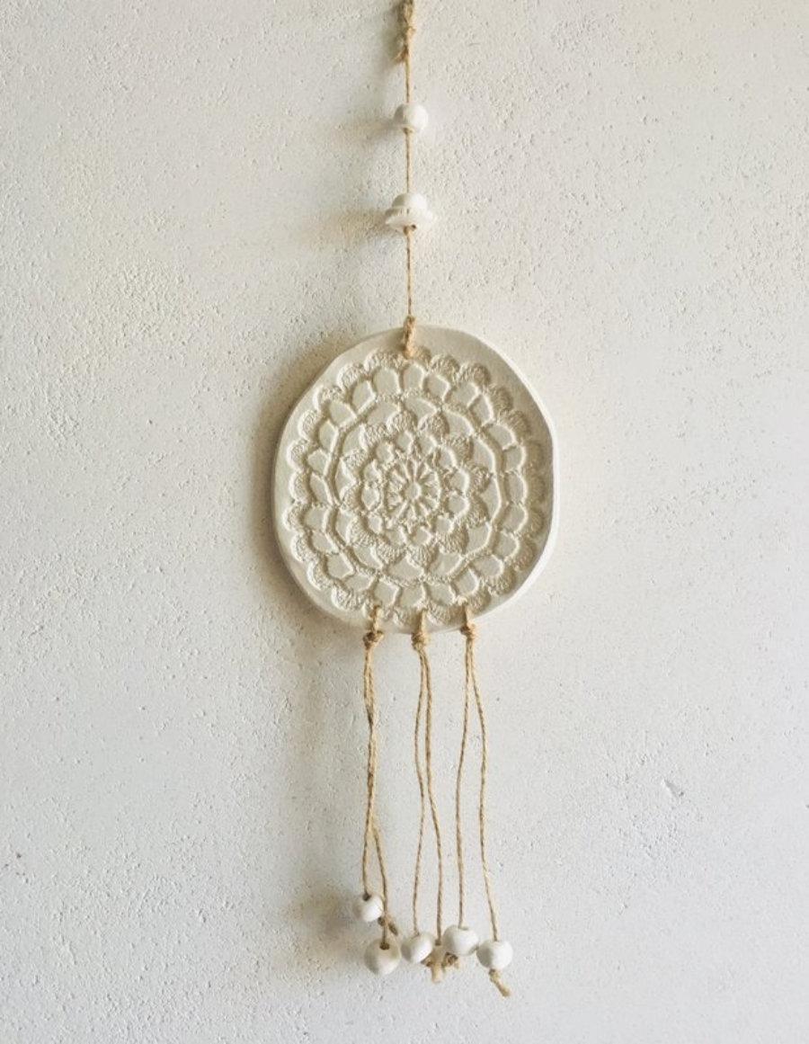Decoración boho pared, mandala cerámica, atrapa sueños hecho a mano, Ibiza