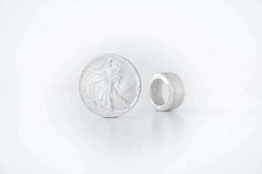 1 Dollar American Eagle Silver Coin Ring