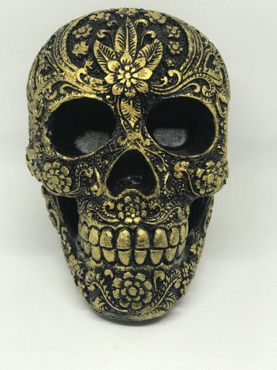 Calavera resina carving negro/dorado