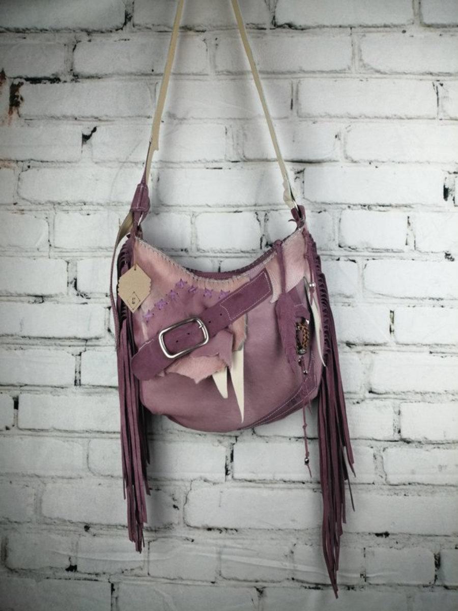 Malva Suede Leather Bag with Boho Design Flecos