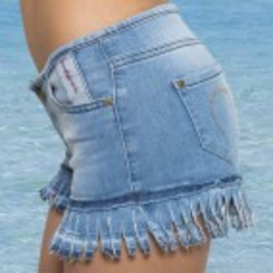 SHORT  CARLA FLECOS, Denim Azul
