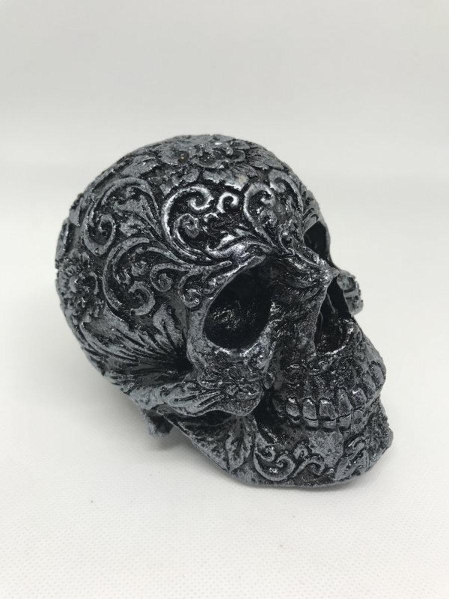 Calavera carving 2 negro/plateado