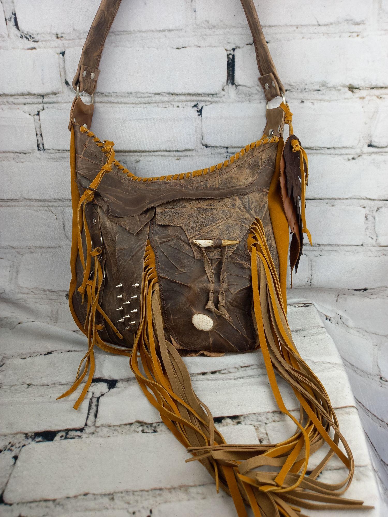 Leather Brown Hippie Handbag/ Boho Bohemian Purse/ Accesories Unique Woman/ Bohemian Bag