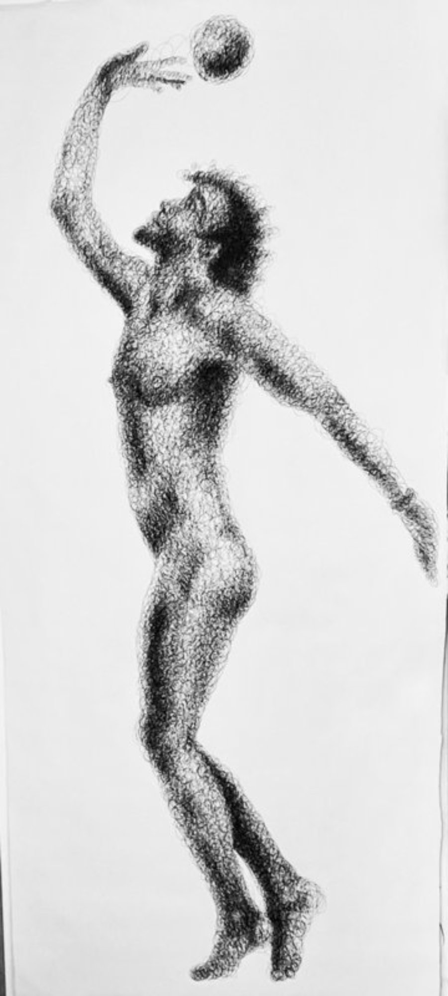 """Pierre with ball"" - male nude, ink on paper 88 x 185 cm"